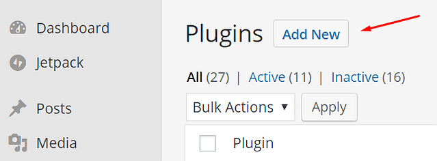 On the Plugins page, click Add New button beside Plugins at the top