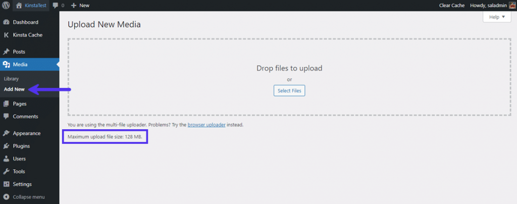 """The """"Maximum upload file size"""" in WordPress' Media Library"""