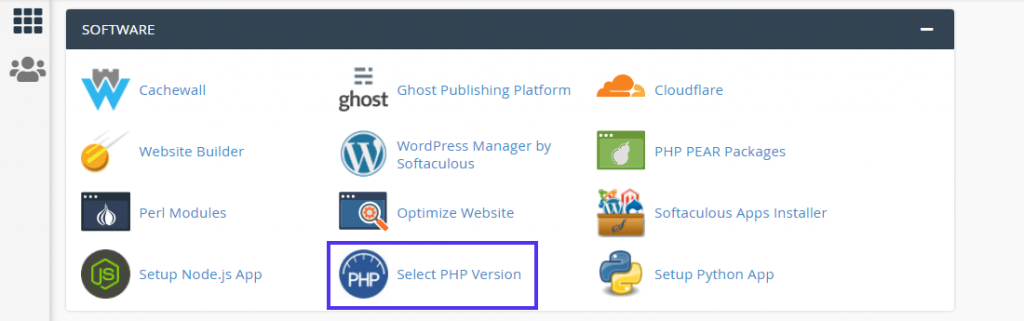 Click 'Select PHP Version' in the cPanel dashboard